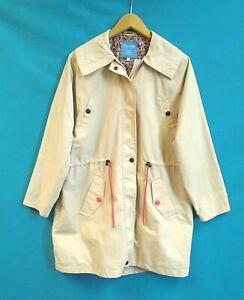 Tulchan Cotton Raincoat UK Size 16, Beige Zip Floral Lined Lightweight Jacket