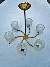 ancien lustre étoile en aluminium doré-6 lumières-verre granité-vintage-1960