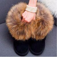 Women's Anti-SKID Winter Ankle Snow Boots Real Fox Fur Rabbit Shoes Tassel Flat