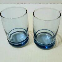 Vintage Anchor Hocking Blue Saturn Blueberry Juice Glasses 6 oz Set of 2
