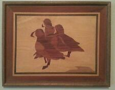 """3 Puffins - Alaskan Marquetry 18"""" by 14"""" Wood Inlay"""