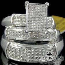 MEN'S WOMEN'S HIS HER .75CTW GENUINE REAL DIAMOND TRIO WEDDING RING BAND SET NEW