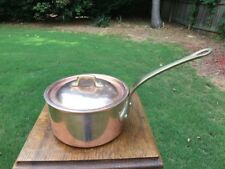 "William Sonoma Mauviel 6.75"" Copper Sauce Pan Pot Stainless Steel Ld W/Lid 2.5mm"