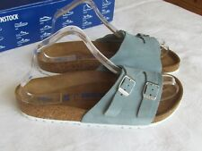 NEW Birkenstock Vaduz Ladies Powder Blue Suede SOFT FOOTBED Sandals Size 5.5 39