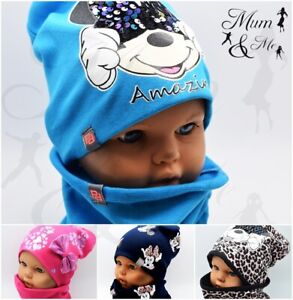 Girls Hat and Scarf Baby Toddler Girl Cap with Scarf Set Cotton Single Layer
