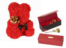Teddy-Bär ROTE ROSEN BÄR 40cm Vergoldete Goldene Rose Geburtstag Liebes Geschenk
