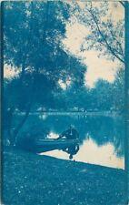 Cyanotype 1906 Chicago Illinois Lake Man Boat undivided postcard 1438