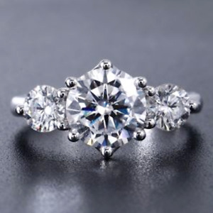 3.50 TCW Round Cut Moissanite Three Stone Engagement Ring 14k White Gold Plated