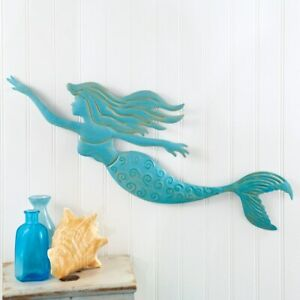 Blue Mermaid Metal Large Wall Decor.Beautifully detailed To Upscale your walls