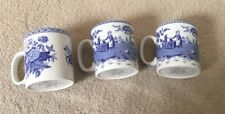 "SPODE Blue Room Collection 3 Mugs 1 x BLUE ROSE & 2 GIRL AT WELL 3-3/8"" Tall"