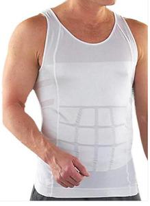 NEW Waistshaperz White Man Tight Tank Vest Body Shaper Reduce Belly