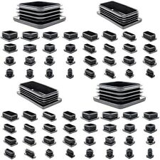 Square & Rectangle Plastic End Caps Blanking Plugs Tube Box Section Insert/BLACK