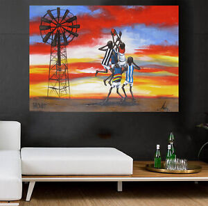 Painting AFL footy Art signed sunset Bush canvas Australia outback Geelong swans
