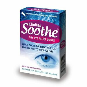Clinitas Soothe Dry Eye Relief Lubricant Eye Drops 20 x 0.5 ml vials