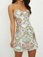 PRETTY LITTLE THING Blue Baroque Print Bandeau Dress  UK 12 US 8 EU 40  (PLT5.1)