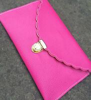 Womens Designer Envelope Scalloped Clutch Chain Purse Shoulder Leather Handbag