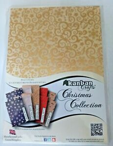 Kanban 10 X A5 Foiled Christmas Background Cards Crafting Christmas Cards New