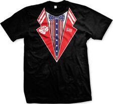 Fake Tuxedo Red White Blue American Flag Bow Tie Stars Suit USA US Men's T-Shirt
