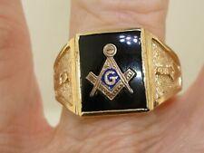 VINTAGE 1940-50'S 10K ROSE GOLD & ONYX MASONIC RING! SZ 8 1/2