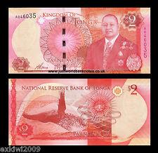 Tonga 2 Pa'anga 2015 P-44 1st Prefix 'A' Mint UNC Uncirculated Banknotes