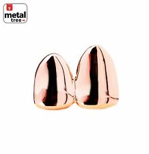 Double Cap 14k Rose Gold Plated Grillz Plain Two Teeth Single Tooth / Double RG