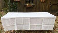 "Vintage White Floral Diamond Pattern Tablecloth 73 X 71"" Large Rectangle"
