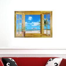 3D False Windows Seascape Landscape Wall Stickers Fashion Home Decors Wall Paper