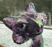 "Fenton Amethyst Carnival Iridescent Glass Hand Painted Alley Cat Figurine11""H"