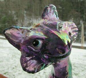 """Fenton Amethyst Carnival Iridescent Glass Hand Painted Alley Cat Figurine11""""H"""