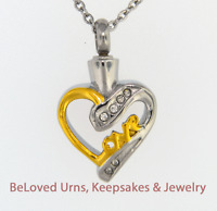 Gold And Silver Love Heart Cremation Jewelry Keepsake Pendant Urn Necklace