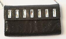 Whiting & Davis purse Black Mesh clutch shoulder bag NWT small Swarovski Prom
