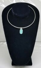 Slide Pendant Ati Mexico Sterling Silver Choker Turquoise Necklace