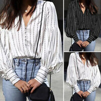 Summer Women Plus Size Loose Blouse Shirt V-neck Puff Sleeve Office Party OL Top