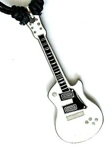 White electric guitar pewter pendant boys girls Adjustable cotton cord P0146