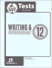 BJU Press  Writing and Grammar 12 Tests Answer Key 3 Ed - 283630