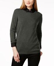 Charter Club 1229 Size XL Charcoal Black Textured Pullover Sweater Cashmere $99
