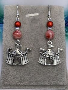 Silver Plated Circus Tent ❤️ Dangle Earrings ❤️ Perfect Gift