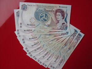 Mint Condition Isle Of Man £5 Five Pound Note Consecutive S/No's M54 Prefix