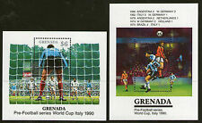 GRENADA FOOTBALL WORLD CUP ITALY 1990 PAIR COMMEMORATIVE MINIATURE SHEETS MNH a