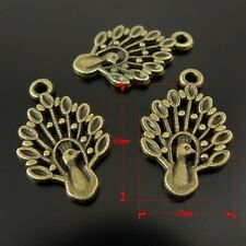Wholesale Vintage Bronze Alloy Animal Peacock Pendants Charms Finding 100pcs