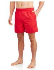"Faded Glory Mens Red Swim Shorts Trunks Swimwear Size 2XL 44-46 18"" seam New"