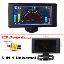Digital 6 in1 Multi-function LCD Car Auto Meter LED Oil Pressure Gauge W/ Sensor