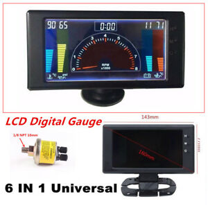 Multi-function LCD Digital 6 in1 Car Auto Meter LED Oil Pressure Gauge Universal