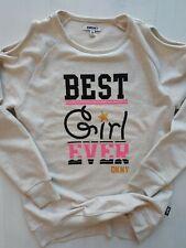 DKNY Girls Shirt L (12) Best Girl Ever Glitter Sequins Peek-a-boo Shoulder New!