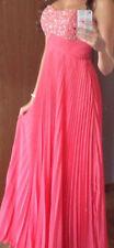 Lachsfarbenes bodenlanges Abendkleid/Abiballkleid XS mit Perlenstickerei