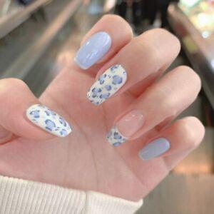 24Pcs Blue Leopard Fake Nails Long Ballerina Press On Artificial Nail Tips Decor