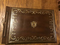 "Vintage 15.5""x10.5"" Brown Gold Scrap Book Photo Album"