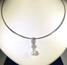 Mikimoto 18K White Gold Pearl Diamond Necklace Round Omega Chain *NEW* PPA420DW