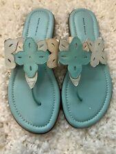 Banana Republic Women's Turquoise Blue Floral Flip Flop Leather NWT Size 9