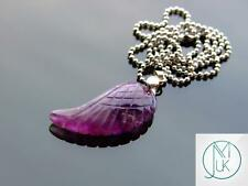 Amethyst Gemstone Angel Wing Pendant Necklace Natural Chakra Healing Stone